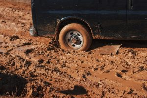 Car stuck in the mud representing inaction