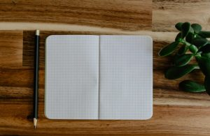 An open notebook of blank pages